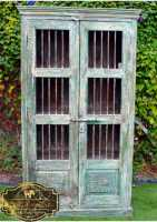 Handmade Reclaimed Timber & Iron Antique Painted Display Cabinet at East Connection